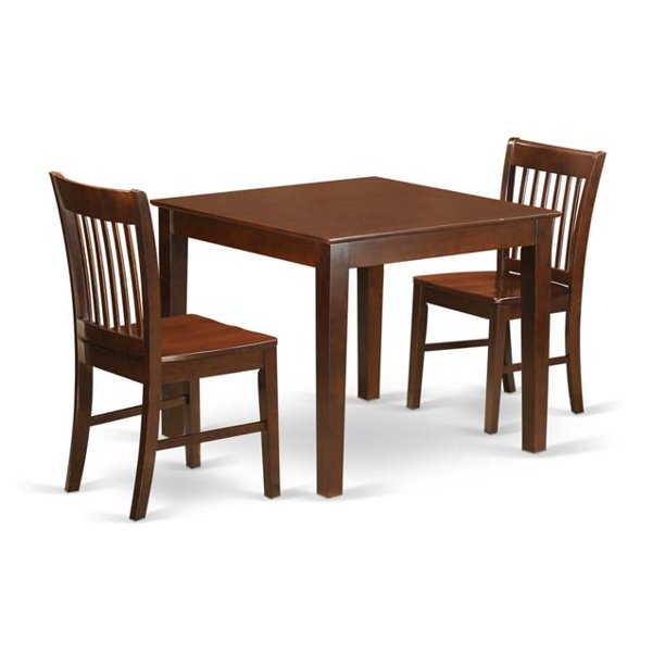 Dinette Set With One Oxford Dining Table Two Chairs 44 Mahogany 3 Piece Walmart Com Walmart Com