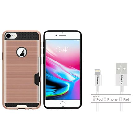 Insten PC/TPU Rubber ID/Card Slot Case Cover For Apple iPhone 8 - Rose Gold (Bundle with BasAcc MFI Certified Lightning Cable) - image 3 of 3
