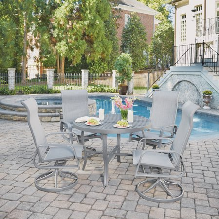 Brilliant Daytona 5 Pc Round Outdoor Dining Table 4 Swivel Rocking Chairs Gmtry Best Dining Table And Chair Ideas Images Gmtryco