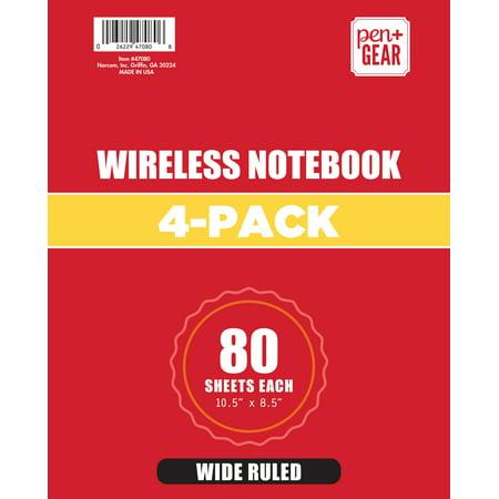 4 Pack Pen+Gear 1 Subject 80 Sheets Wireless Notebook, Wide (96672 Wireless Notebook)
