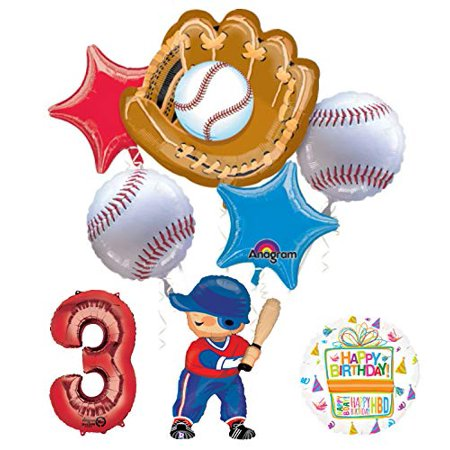 Baseball Birthday Decorations (Baseball Player 3rd Birthday Party Supplies Balloon Bouquet)