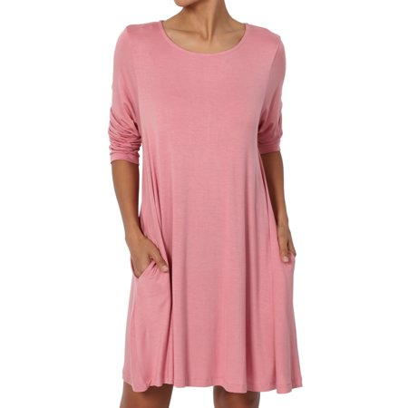 (TheMogan Women's S~3XL Basic 3/4 Sleeve Swing Flared Tunic Dress Pocket Long Top)