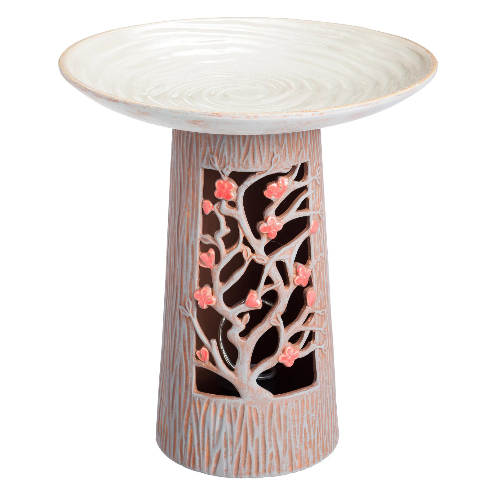 Evergreen Enterprises Ceramic Blossom Design Bird Bath with Pedestal
