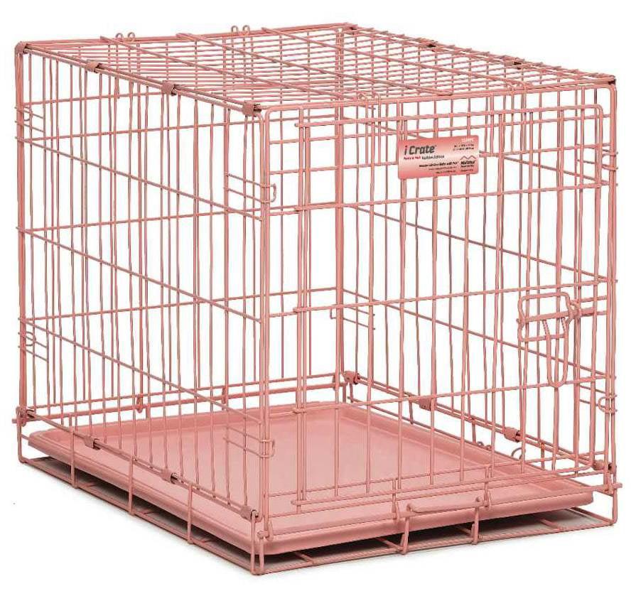 Single Door Dog Crate in Pink