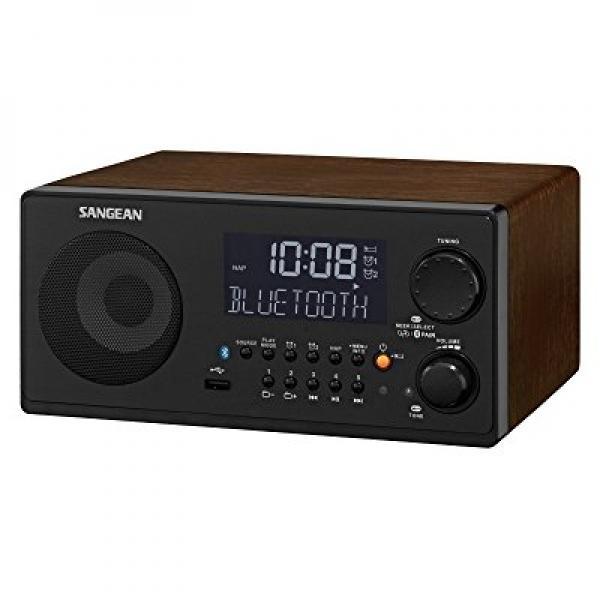 Sangean WR-22BK Tabletop FM-RDS (RBDS) AM USB Bluetooth Digital Radio Receiver, Black, 10 Station Presets (5 FM 5 AM),... by Sangean
