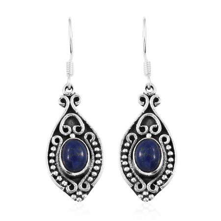 Lapis Sterling Silver Post Earrings (925 Sterling Silver Blue Lapis Lazuli Dangle Drop Tribal Earrings Gift Jewelry for Women)