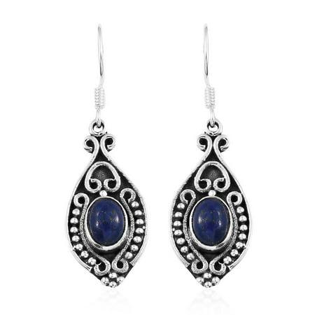 925 Sterling Silver Blue Lapis Lazuli Dangle Drop Tribal Earrings Gift Jewelry for Women