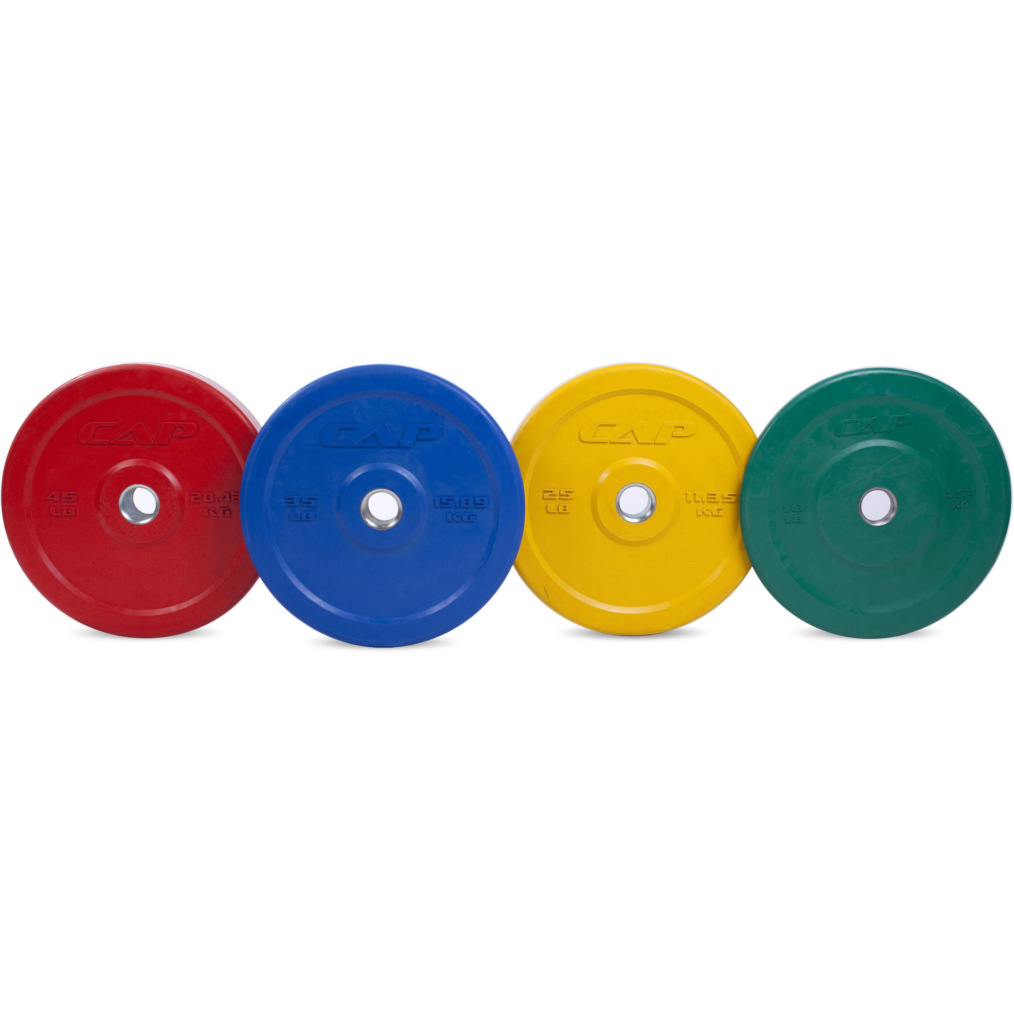 CAP Barbell Rubber Olympic Bumper Plate, 10lbs-45lbs