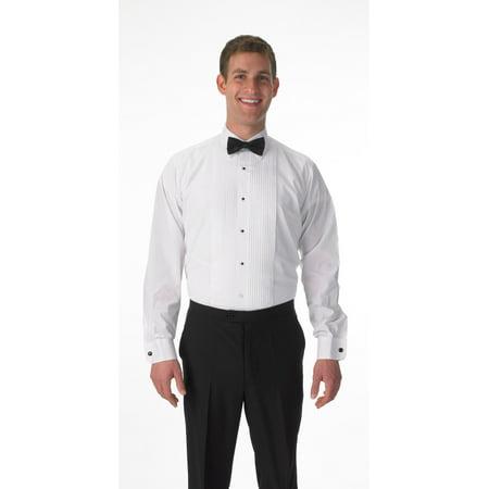 Elaine Karen Premium Men's Tuxedo Long Sleeve Shirt Laydown Collar, with Bonus Black Bow - Boys Tuxedo Shirt And Bow Tie