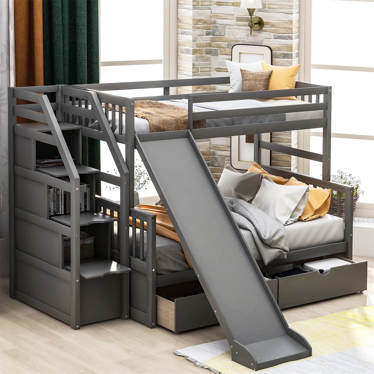 ModernLuxe Twin over Full Bunk Bed with Slide, Drawers ...