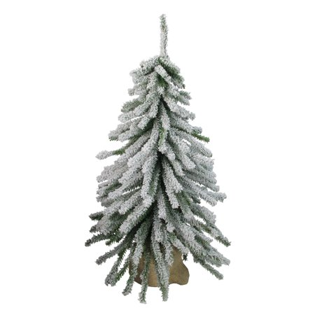 2' Flocked Downswept Mini Village Pine Artificial Christmas Tree in Burlap Base - Unlit - image 1 de 1