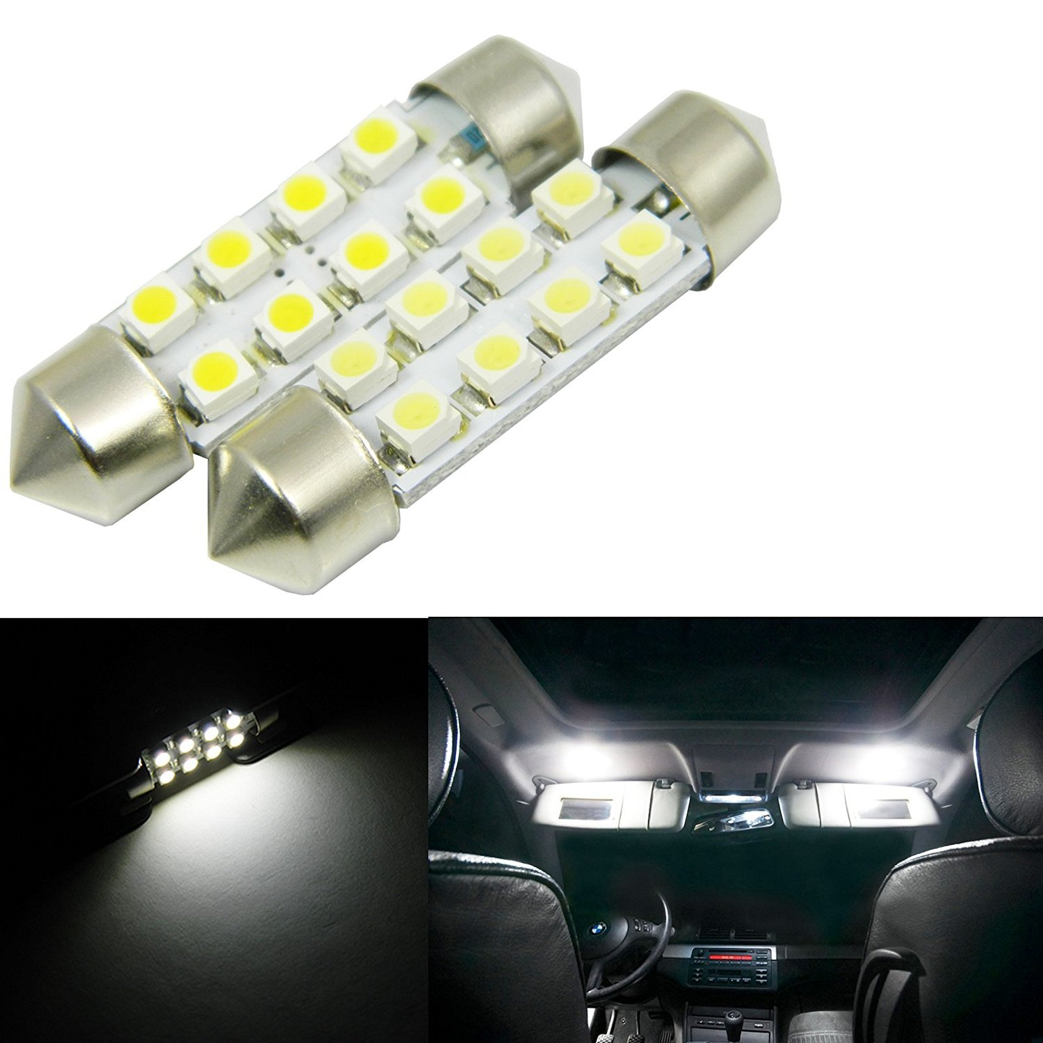 Alla Lighting 800lm 6418 6411 LED Lights Bulbs Xtreme Super Bright Festoon 7065 DE3425 LED Inteiror Lights Replacement for Cars Trucks License Plate Interior Map Dome Trunk Vanity Mirror Lights