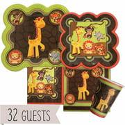 Funfari - Fun Safari Jungle - Party Tableware Plates, Cups, Napkins - Bundle for 32