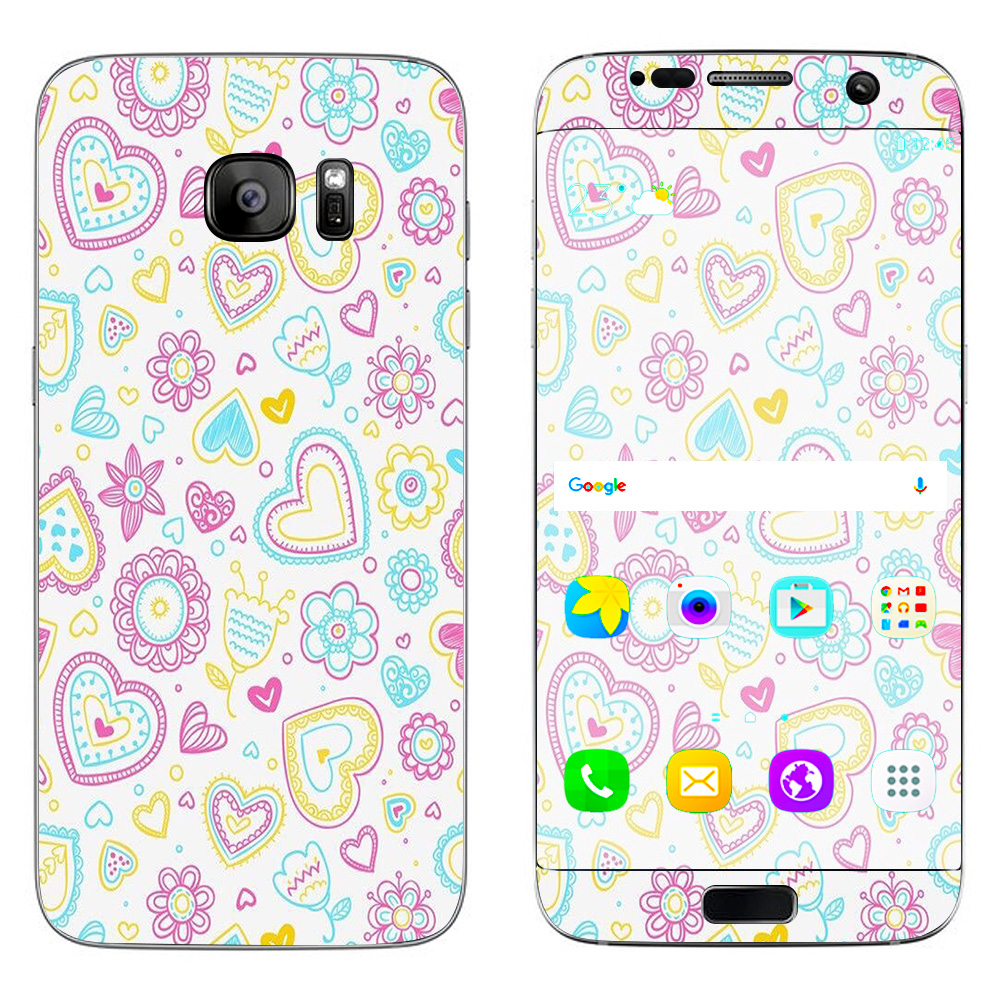 Skins Decals For Samsung Galaxy S7 Edge / Hearts Doodles Shape Design