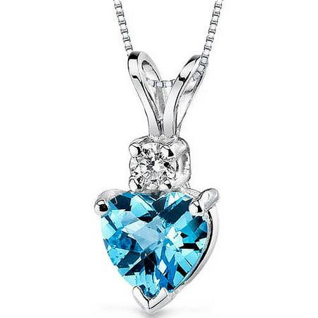 0.91 ct Heart Shape Swiss Blue Topaz and Diamond Pendant in 14K White Gold, 18