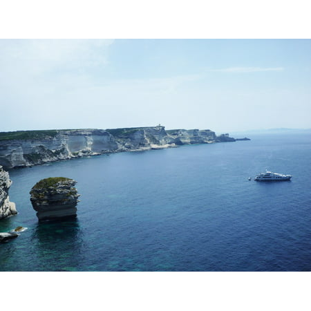 Peel-n-Stick Poster of France White Cliffs Sea Corsica Cliff Outlook Poster 24x16 Adhesive Sticker Poster Print
