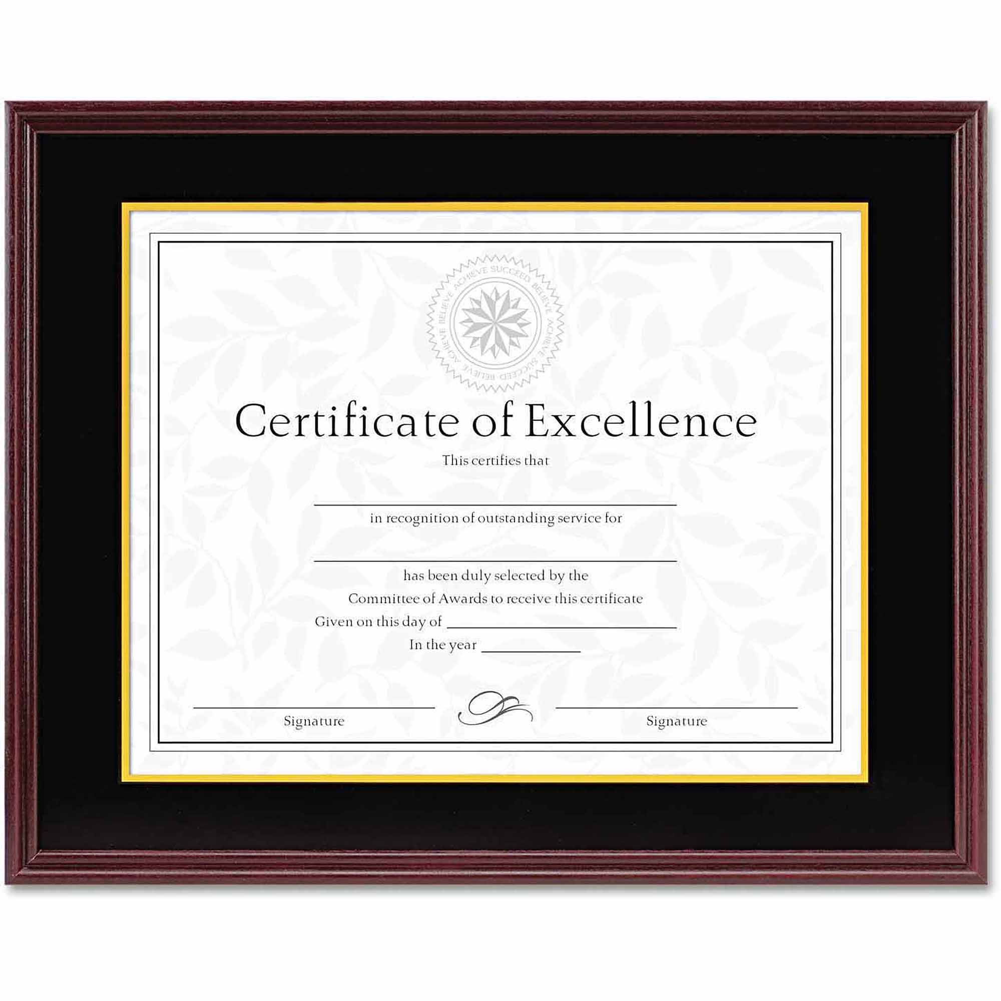 "DAX Hardwood Document/Certificate Frame with Mat, 11"" x 14"", Mahogany"