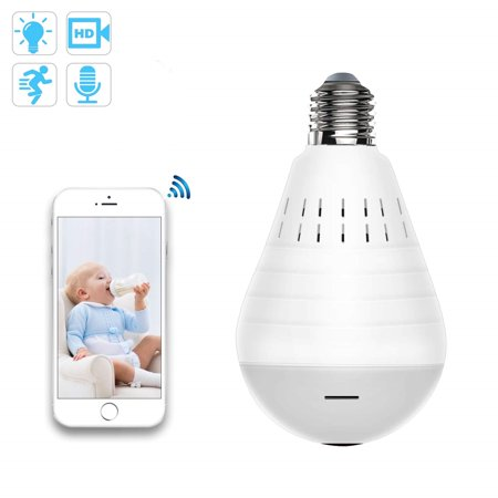 WiFi Bulb Security Camera -1080P Wireless Security Camera Bulb- 2MP Fisheye LED Light 360° Panoramic for Remote Light Cameras, Motion Detection for iPhone/Android/Windows 2 Mp Camera Video