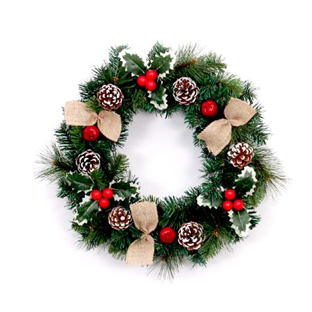 ALEKO Decorative Holiday Christmas Wreath with Burlap Bows - Green and Red - Halloween Wreath Bows