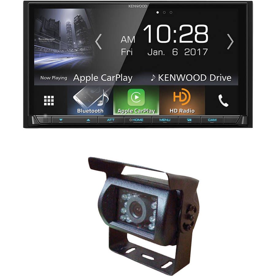 "Kenwood DMX7704S 6.95"" Double-DIN In-Dash Digital Media Receiver and Pyle PLCMB20 Adjustable-Angle IR Backup Camera by Kenwood"