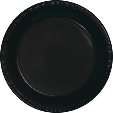 Club Pack of 240 Jet Black Premium Plastic Party Dinner Plates 9