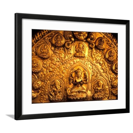 Gold Sculpture Artwork in Bali, Indonesia Framed Print Wall Art By Bill Bachmann