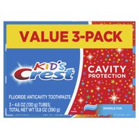Crest Kid's Cavity Protection Toothpaste Sparkle Fun Flavor, 4.6 Oz (3 Pack)