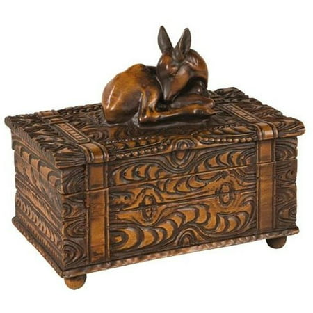 Lidded Box MOUNTAIN Rustic Sleeping Fawn Deer Resin New Carved Hand-Pain OK-1126 (Hand Carved Deer)