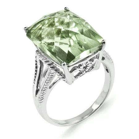 925 Sterling Silver Rhodium Octagonal Checker-Cut Green Quartz Ring - image 1 of 4