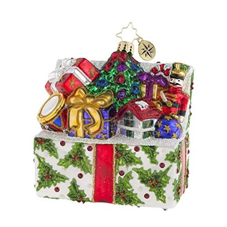 Holly Present - Christopher Radko Holly Holiday Helping Box Filled With Presents Themed Glass Ornament