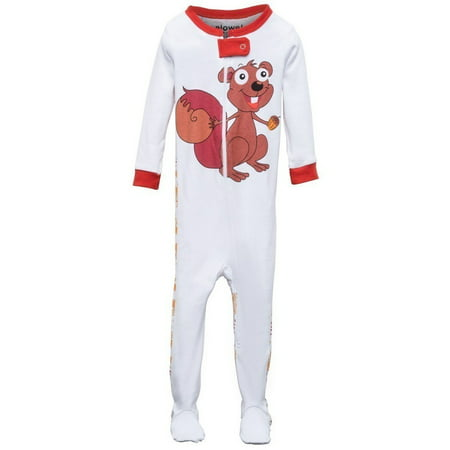 38a9175bc Elowel Baby Girls Brown Chipmunk Print Zipper Footed Pajama Sleeper ...