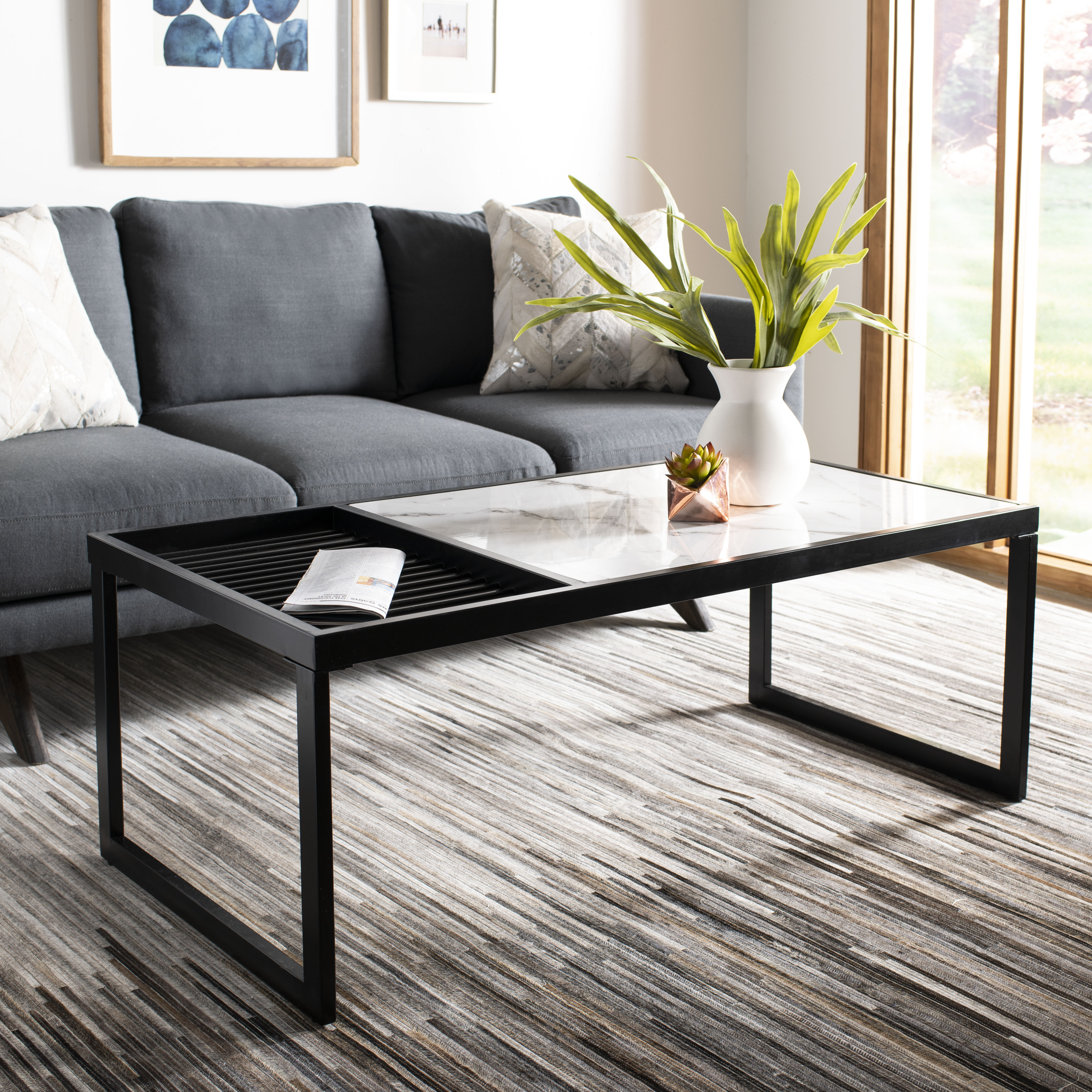 Safavieh Zuri Mid-Century Coffee Table, White Marble/Black