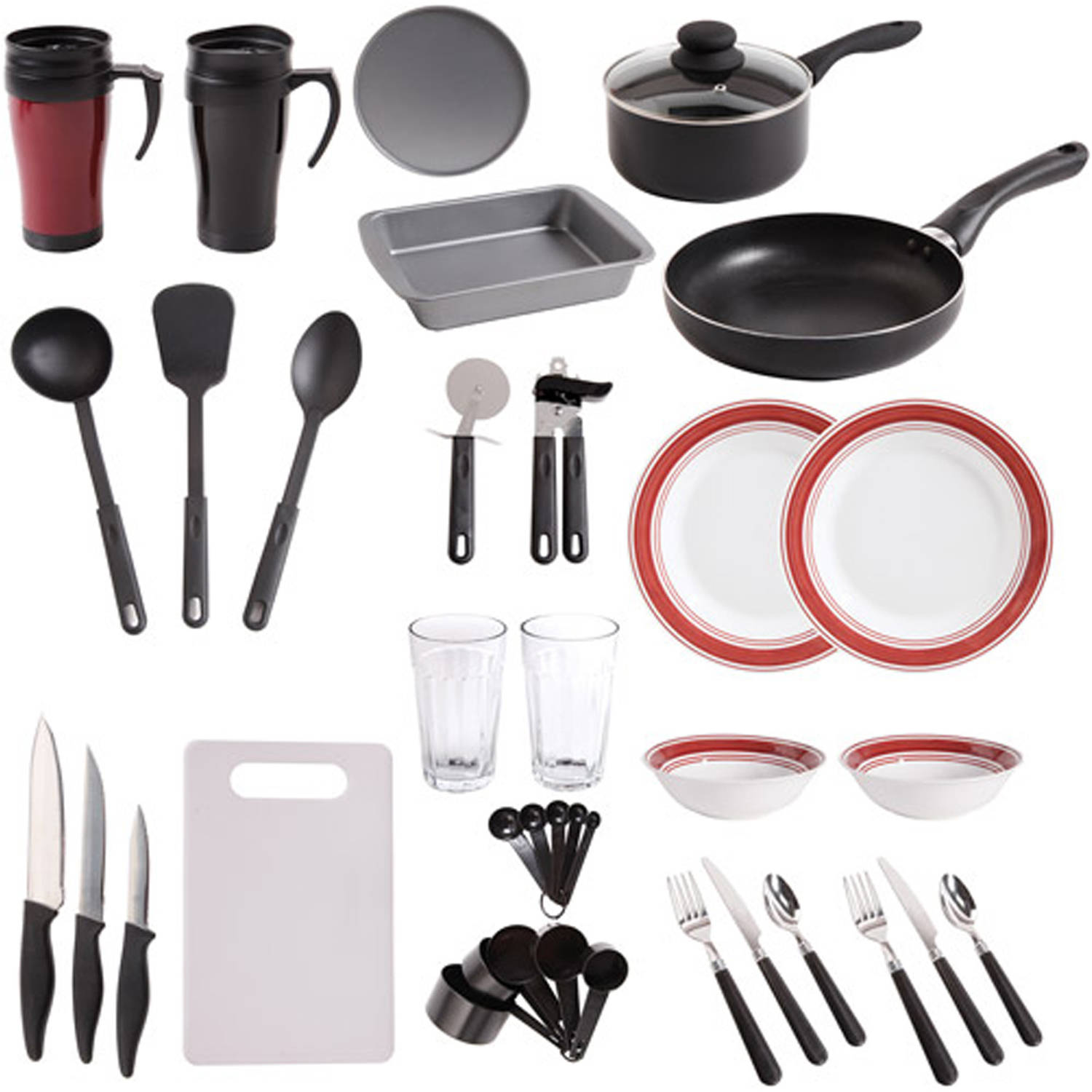gibson home dorm kitchen 38-pc. combo set - walmart
