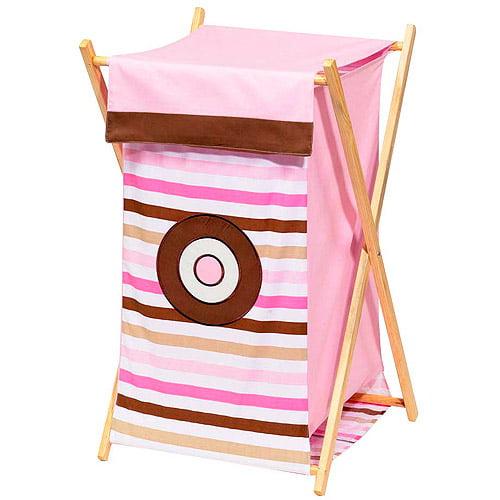Bacati Mod Dots Stripes Hamper, Pink/Chocolate