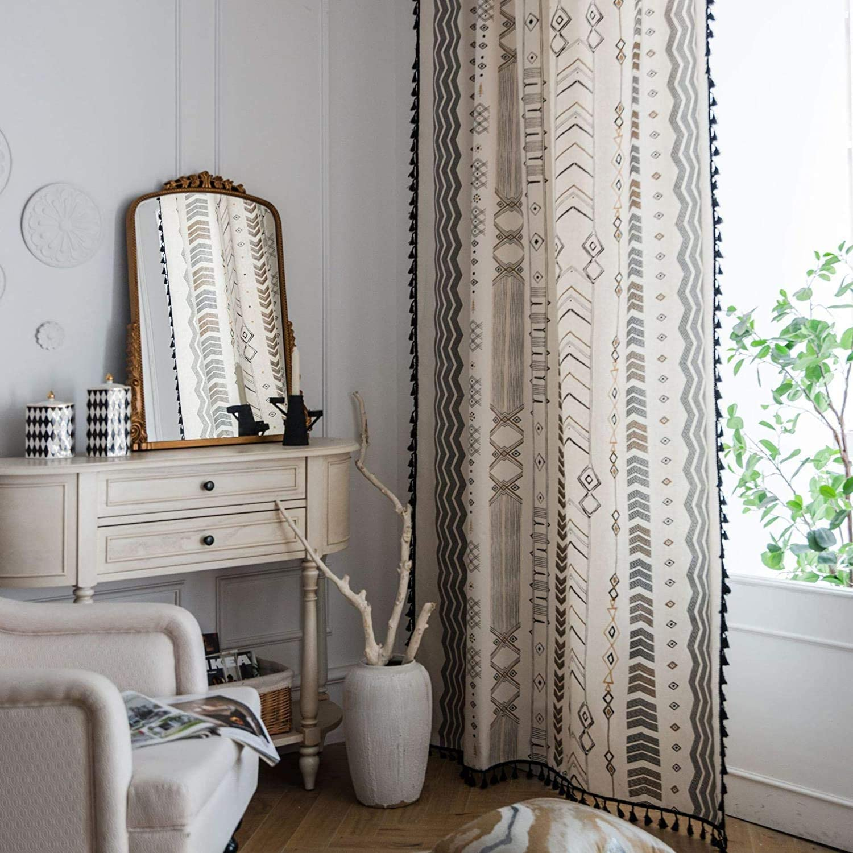 Sri Yantra Boho Chic Window Curtain,Window Treatment,Rod Pocket Curtain,Blue Bohemian Curtain,Room Decor,Living Room Decor,Chakra Curtain
