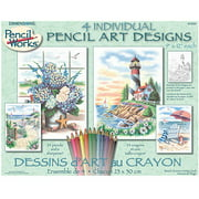 Paintworks Pencil By Number 9x12 Beach 4pk