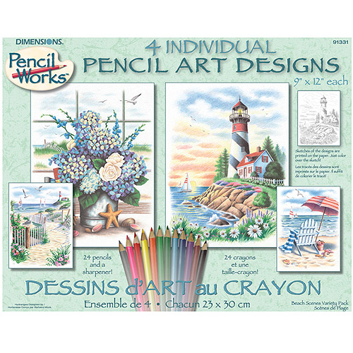 """Pencil by Number Beach Scenes Kit, 9"""" x 12"""", Set of 4"""