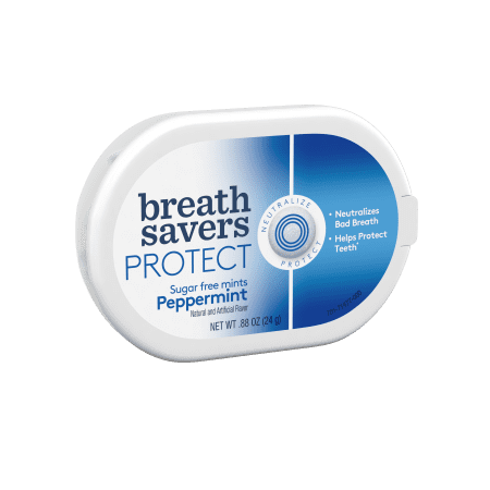 BREATH SAVERS PROTECT Mints in Peppermint Flavor, .88 Oz (Pack of 12)](Lifesaver Flavors)