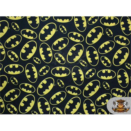 "100% Cotton Print Fabric Batman Logo Packed / 45"" Wide / Sold by the yard"