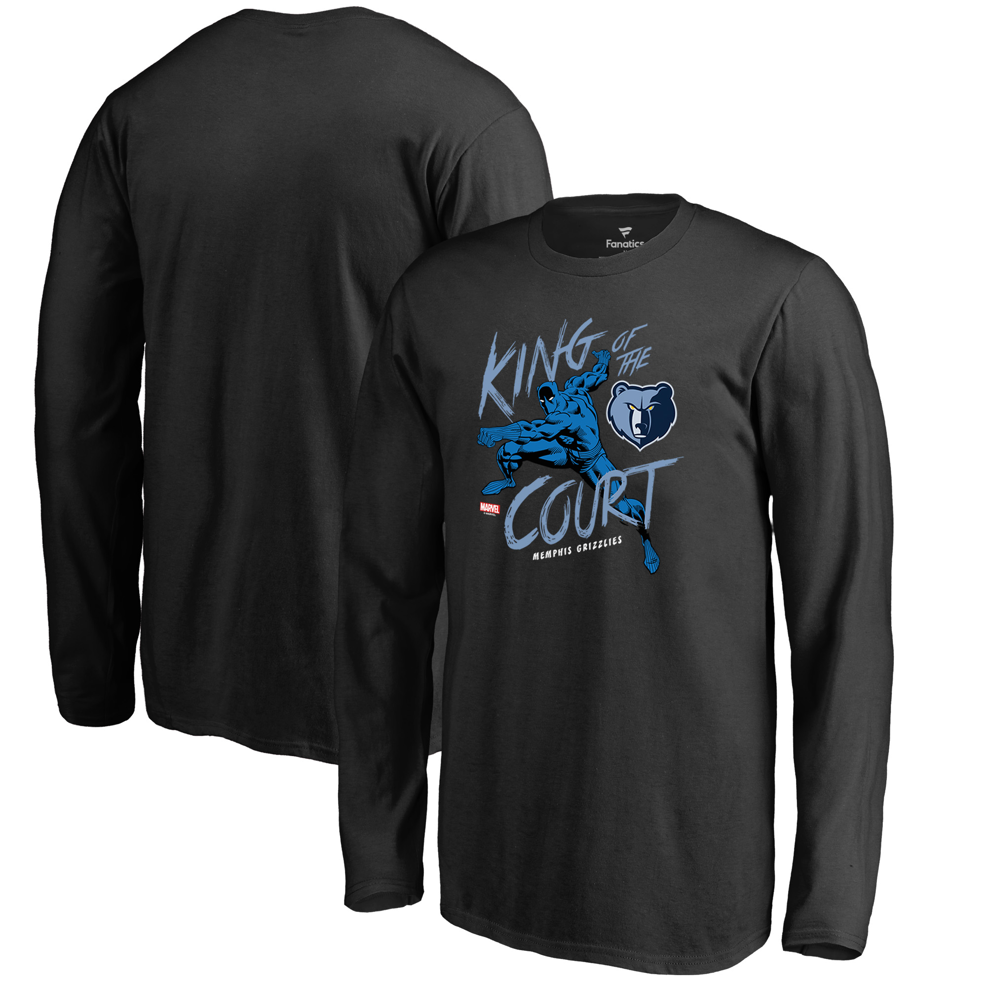 Memphis Grizzlies Fanatics Branded Youth Marvel Black Panther King of the Court Long Sleeve T-Shirt - Black