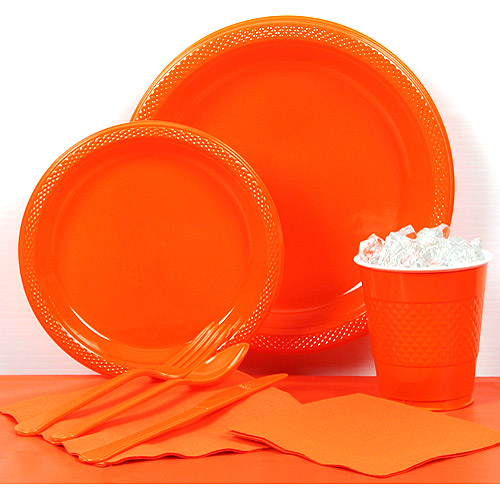 Orange Plastic Tableware Party Pack for 20