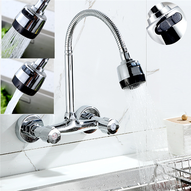 360° Rotating Kitchen Wall Mounted Double Handle Sink Flexible Spout Faucet Chrome Mixer Durable Tap