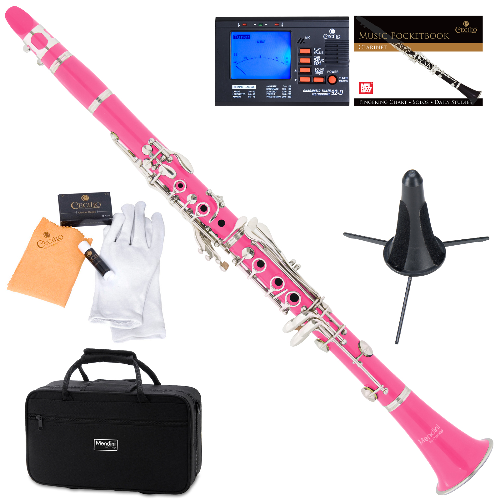 Mendini by Cecilio MCT-PK Pink ABS Bb Clarinet w/1 Year Warranty, Stand, Tuner, 10 Reeds, Pocketbook, Mouthpiece, Case, B Flat