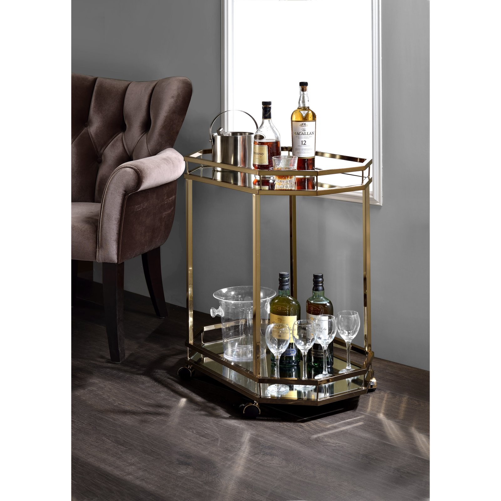 ACME Lacole Serving Cart, Mirror and Champagne by Acme Furniture