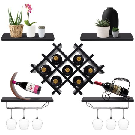 Gymax Set of 5 Wall Mount Wine Rack Set Storage Shelves and Glass Holder (Wine Storage Shelves)