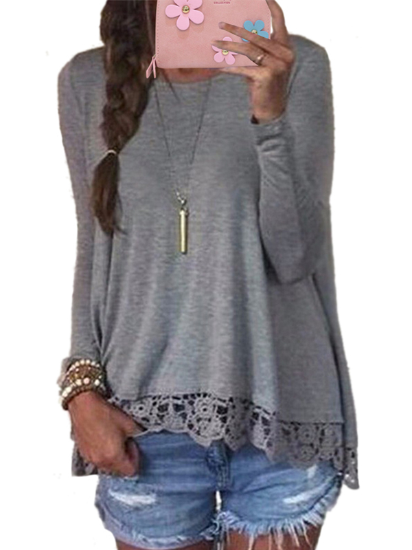 Womens Long Sleeve Crew Neck Lace Patchwork Solid Casual Loose Blouses