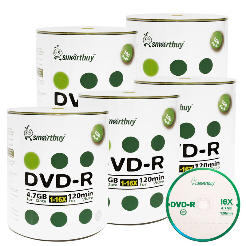 500 Pack Smartbuy 16X DVD-R 4.7GB 120Min Logo (Non-Printable) Data Blank Media Recordable Disc