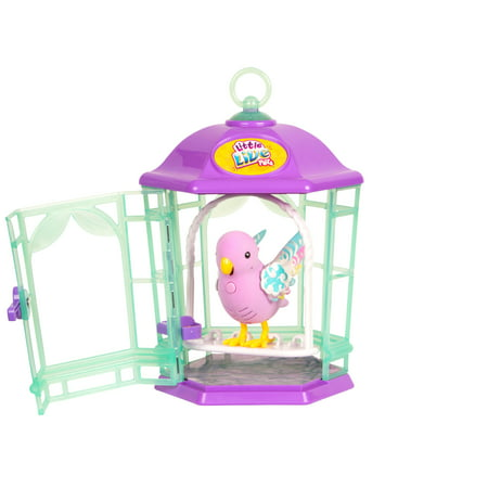 Little Live Bird With Cage, Rainbow Glow with Light-up Wings ()