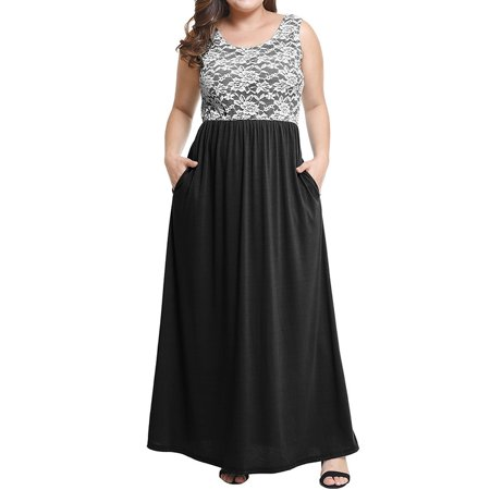 Women\'s Sleeveless Lace Patchwork Round Neck Plus Size Maxi Dress Summer  Long Dress With Pocket
