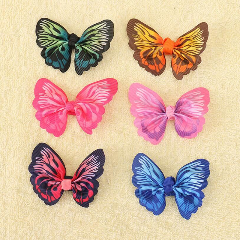 6Pcs Hair Barrettes, Coxeer 3D Imitate Butterfly Cloth Hair Clips Hair Bows Hair Pins Hair Accessories for Baby Girls Kids Teens Toddlers Children